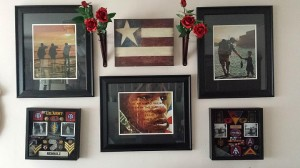 Just wanted to share our photo of some Peter Oneill art we have hanging in our home here in fl. We have combined it with my father in laws military pathches and bagdes he had. We fell in love with Peters art when we visited St. Augustine over 5 years ago. We make sure we stop in and always buy a new piece when we visit. We also have visited the gallery in Charleston a few years back. Thank you so much we enjoy your art very much. We have many pieces and look forward to adding more to  our collection. - Jason and Amber Reinholz